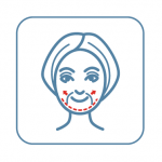 A drawing of a woman's face with red arrows pointing outward