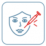Drawing of a face with a red syringe