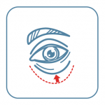 A drawing of an eye with a red arrow pointing to the skin below the eye