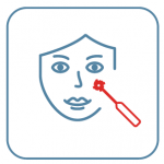 A drawing of a face with a red laser pointed at it.