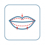 A drawing of lips with red arrows